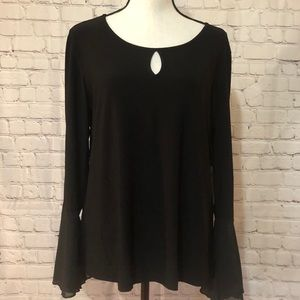 NWT PerSeption black top with pearl accent sleeve